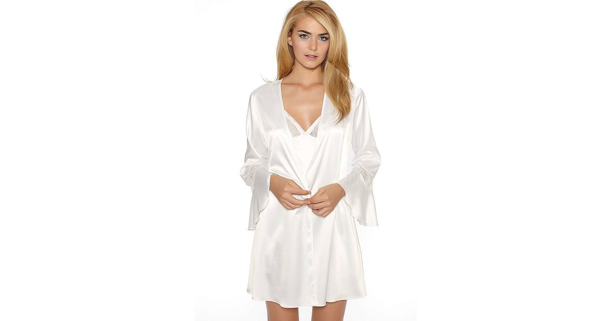 Betsey Johnson Sultry Stretch Satin Lace Wrap Robe In