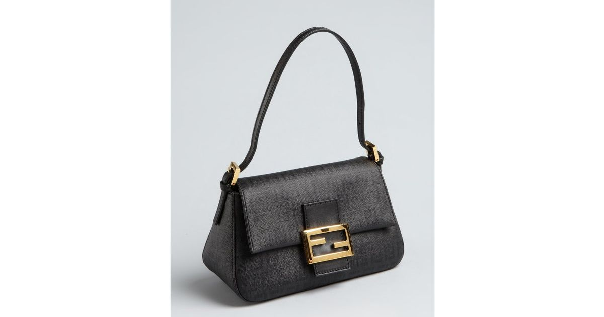 2712e5f48352 ... pochette nylon black travel bag b268d 35733 coupon for lyst fendi black  zucchino spalmati mama mini baguette in black 5a3e4 180a9 ...