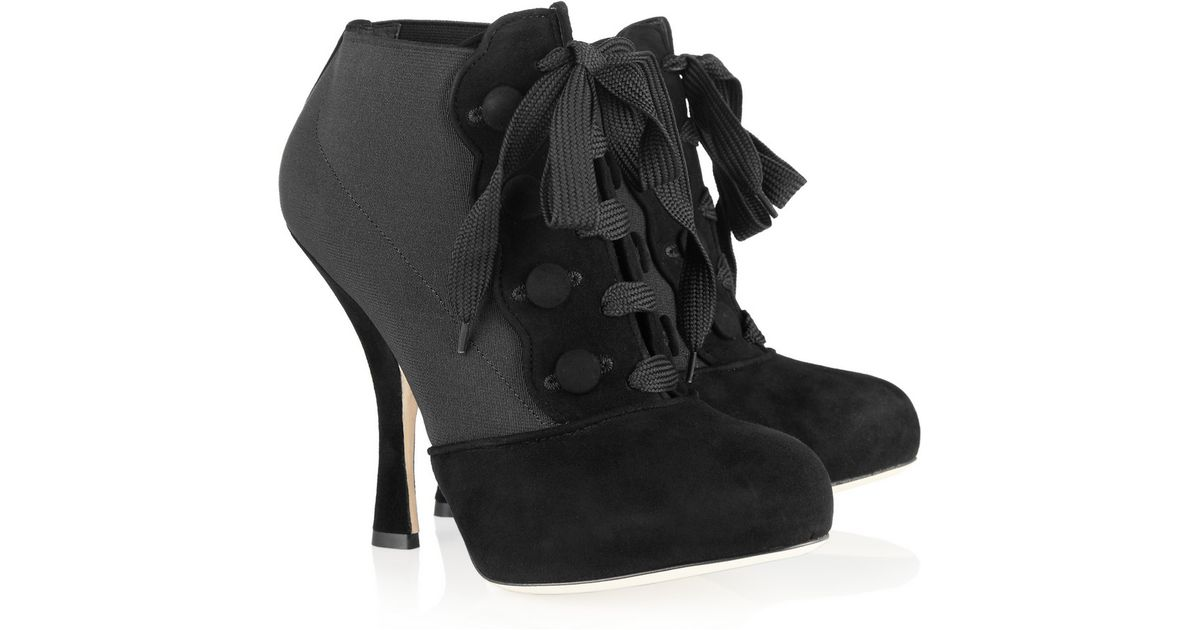 Dolce & Gabbana Suede Lace-Up Booties buy cheap browse wbnS1hR