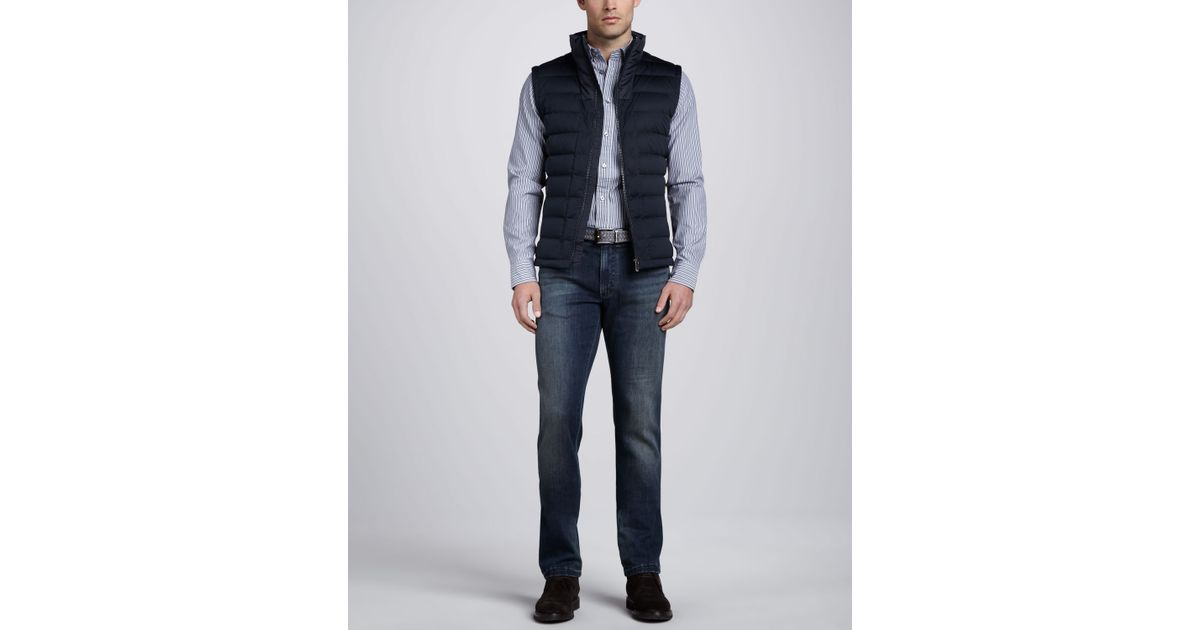 Zegna Sport Quilted Puffer Vest Navy In Blue For Men Lyst