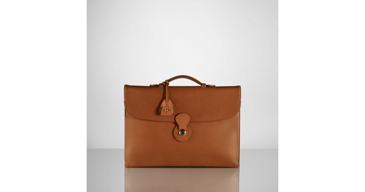 cc31d0a986 Lyst - Ralph Lauren Saddle Single-Gusset Briefcase in Brown for Men