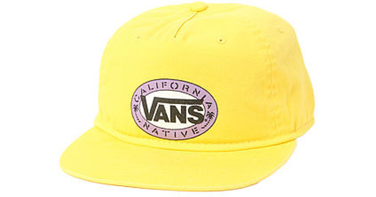 4b0c92e5cc9 Lyst - Vans The California Stencil Snapback Hat in Yellow for Men