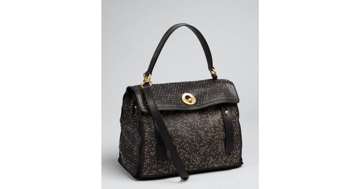 d32bbc699e Saint laurent Black Studded Leather Leather Muse Two Cabas Bag in .