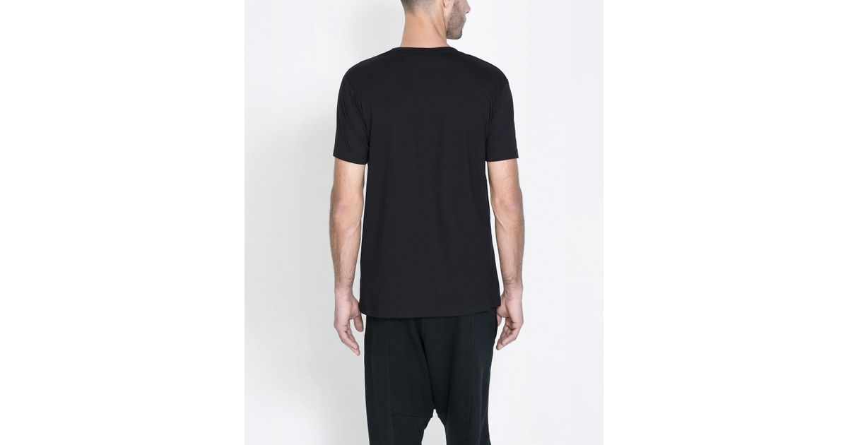 Zara tshirt with faux leather appliqu in black for men lyst for Zara mens shirts sale