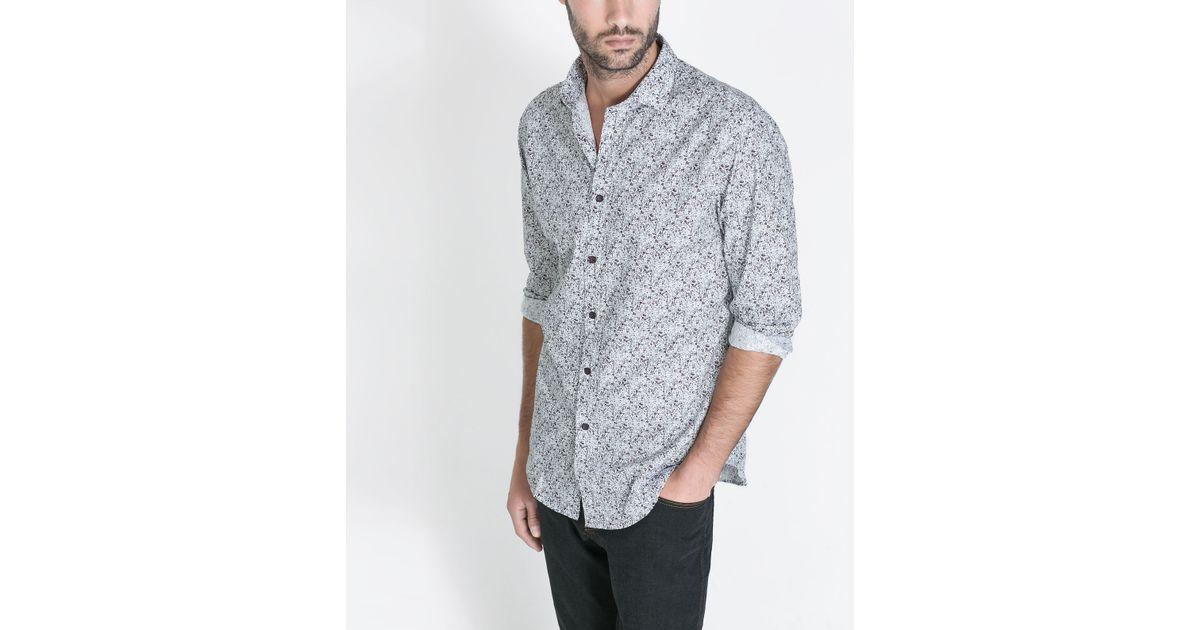 Zara printed shirt in floral for men white lyst for Zara mens floral shirt