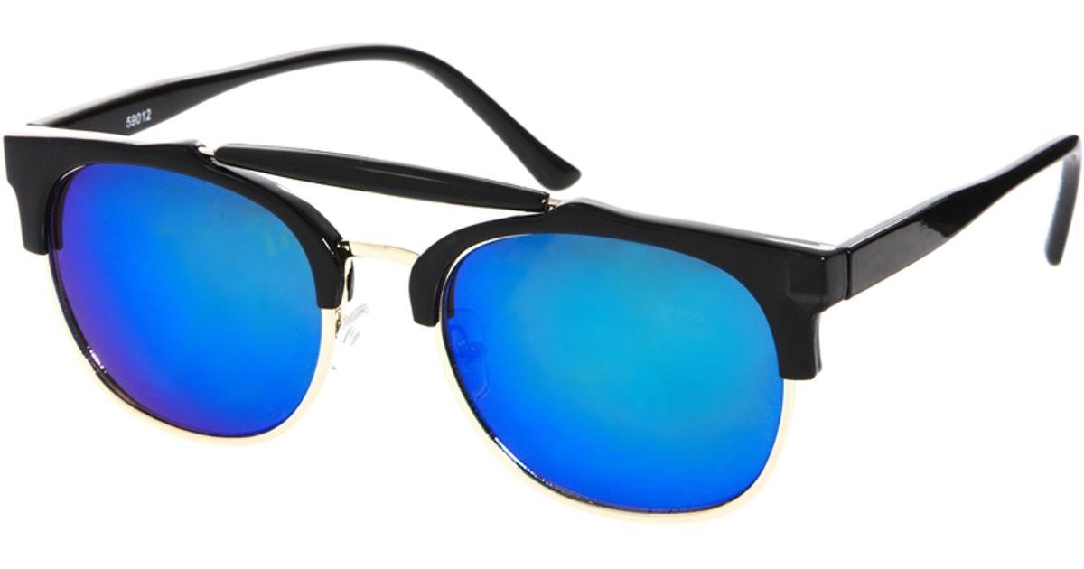 clubmaster sunglasses blue  A.j. morgan Clubmaster Sunglasses in Black for Men