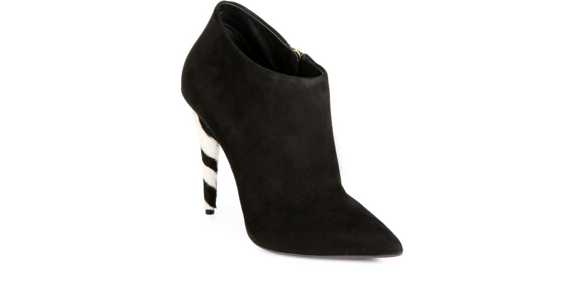 82630ebff4447 Giuseppe Zanotti Suede & Zebra-Print Calf Hair Ankle Boots in Black - Lyst