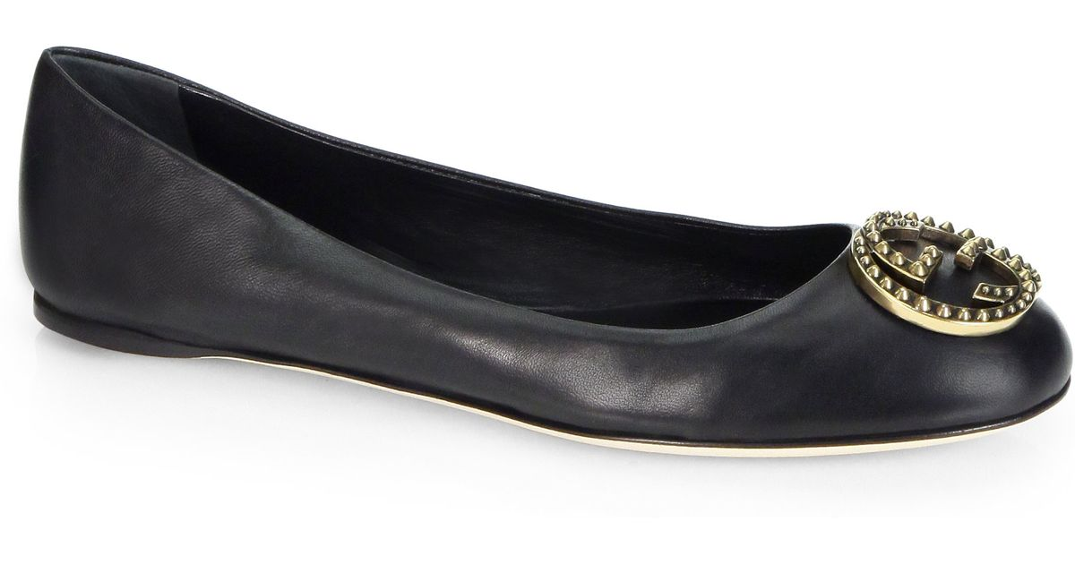 d95eea86d38 Lyst - Gucci Leather Logo Ballet Flats in Black