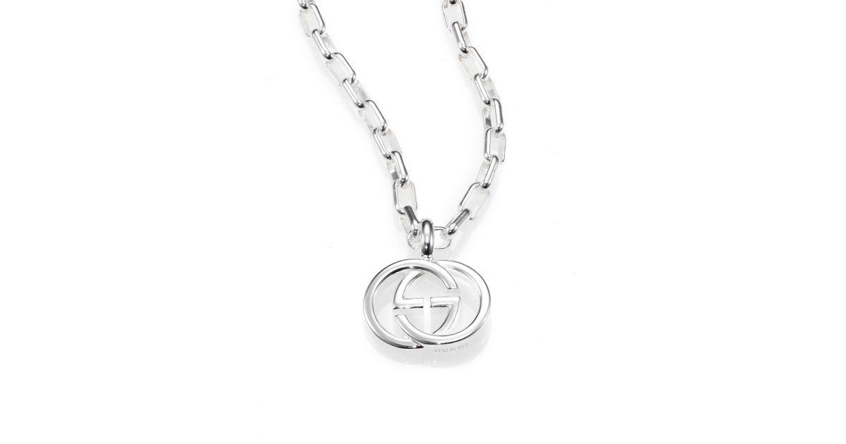 d63f0cb62ba0 Lyst Gucci Sterling Silver Interlocking Gg Pendant Necklace In