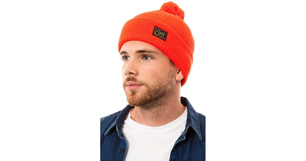 c07d3ce21e1 Lyst - Obey The Old Timey Pom Pom Beanie in Orange for Men