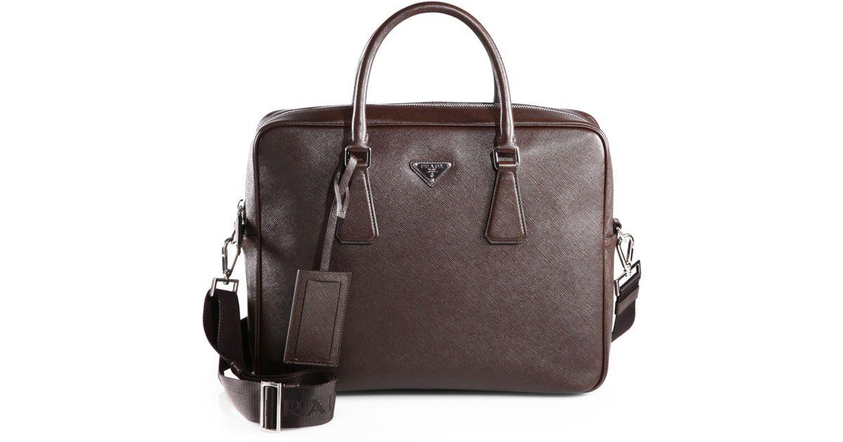 lyst prada saffiano travel briefcase in brown for men