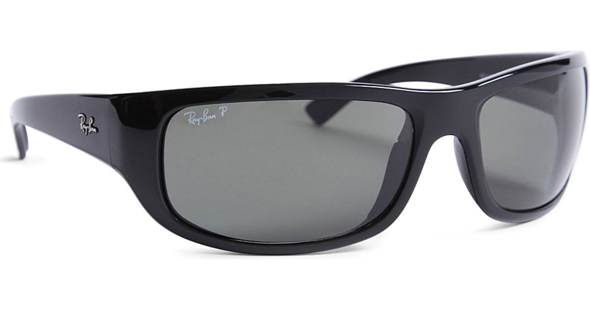 c3c2d79c4f Ray-Ban Polarized Wraparound Sunglasses in Black for Men - Lyst