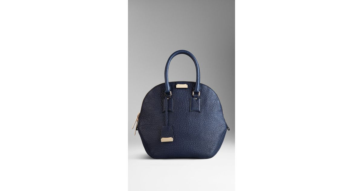ec5060fe98f6 Lyst - Burberry The Medium Orchard in Heritage Grain Leather in Blue