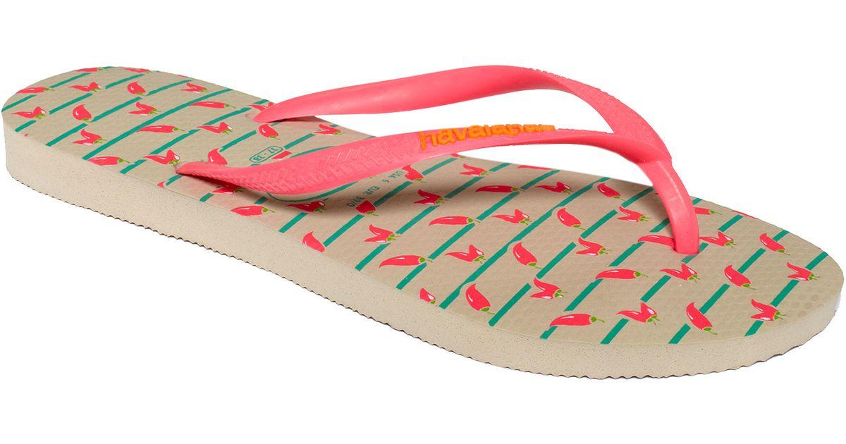 78b275344216 Lyst - Havaianas Slim Cool Flip Flops in Red