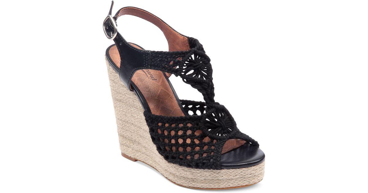 216c2833c8e Lyst - Lucky Brand Rilo Platform Wedge Sandals in Black