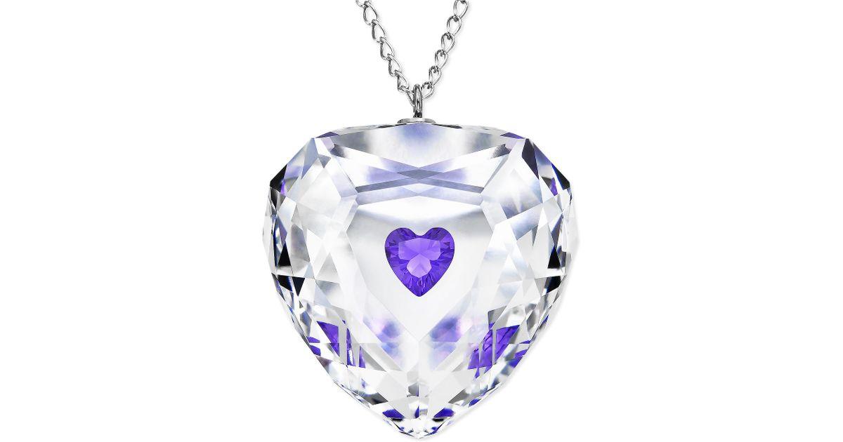 Lyst swarovski rhodium plated violet truthful heart crystal lyst swarovski rhodium plated violet truthful heart crystal pendant necklace in metallic aloadofball Gallery