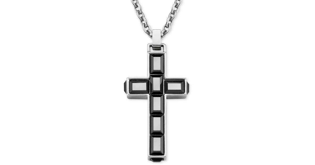 Lyst swarovski stainless steel jet hematite crystal cross pendant lyst swarovski stainless steel jet hematite crystal cross pendant necklace in metallic aloadofball Choice Image