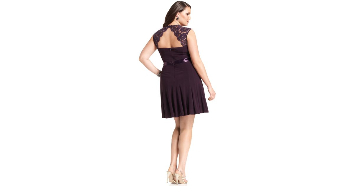 8fca451e00233 Lyst - Xscape Xscape Plus Size Dress Cap-sleeve Lace Seamed in Purple