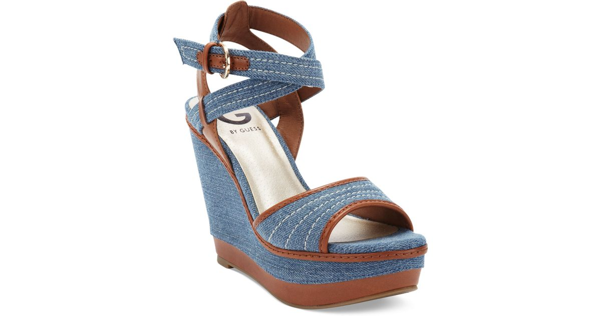 Lyst Blue Sandals G Wedge Guess Tezley By Platform cRL35AqjS4