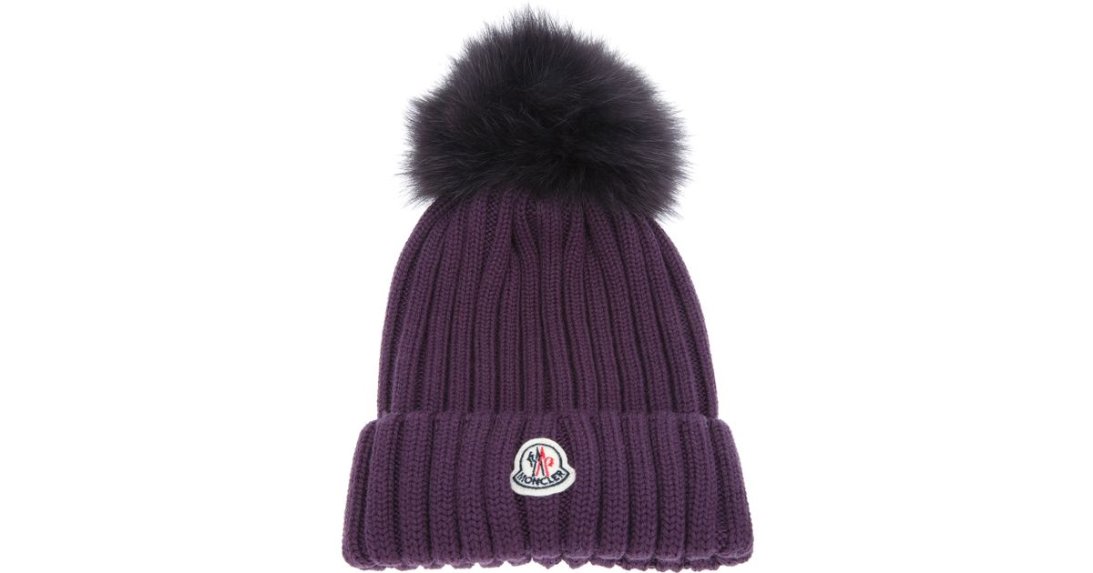 Lyst - Moncler Ribbed Knit Beanie Hat in Purple d7fb824954