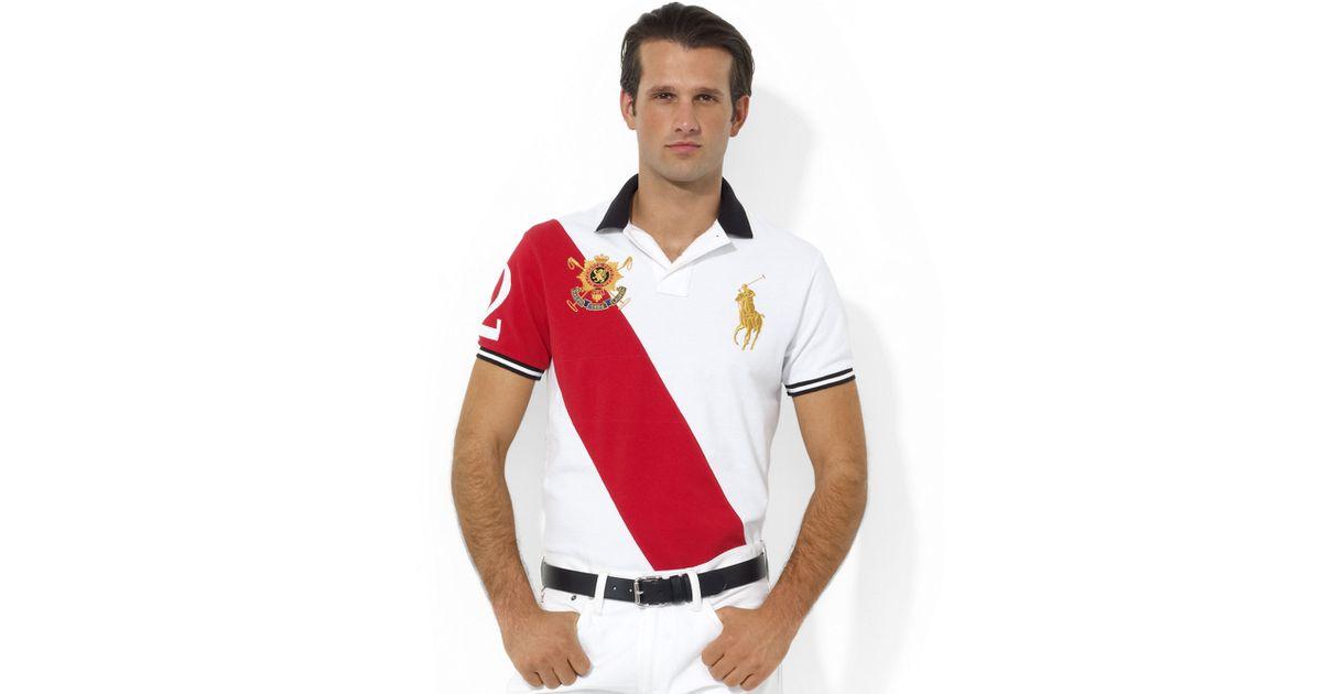 Ralph lauren Customfit Black Watch Banner Mesh Polo in White for Men   Lyst