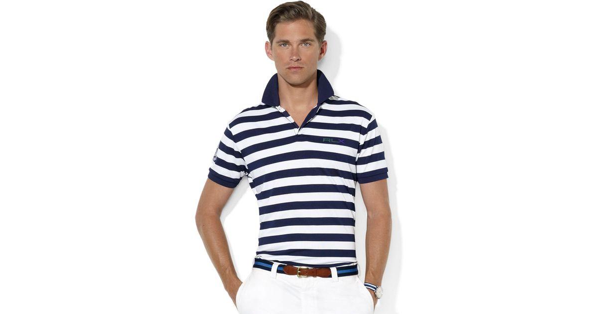 Ralph lauren Rlx Wimbledon Short Sleeved Striped Tech Polo Shirt in White for Men | Lyst