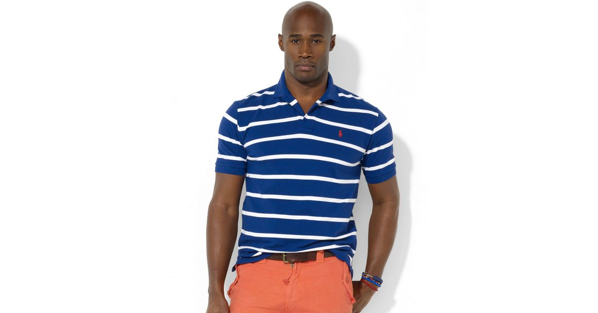 Lyst - Ralph Lauren Classicfit Shortsleeved Striped Mesh Polo Shirt in Blue  for Men