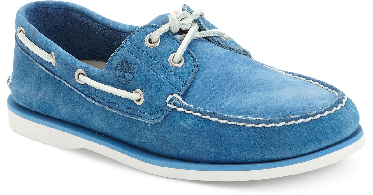 timberland classic boat shoes blue