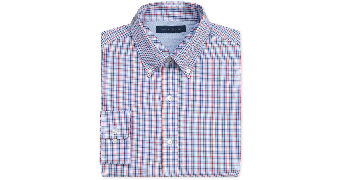 b719dc3b27be Lyst - Tommy Hilfiger Red and Blue Mini Box Check Long Sleeve Shirt in  Purple for Men