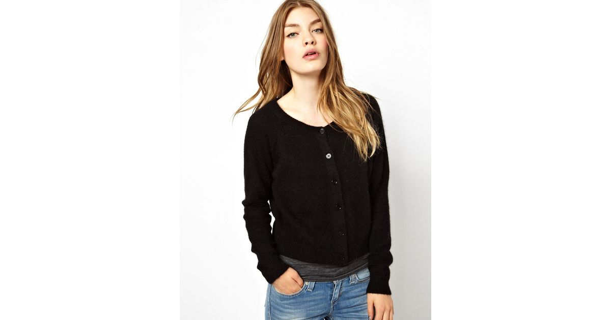 Ganni Buttondown Cardigan in Angora Mix in Black | Lyst