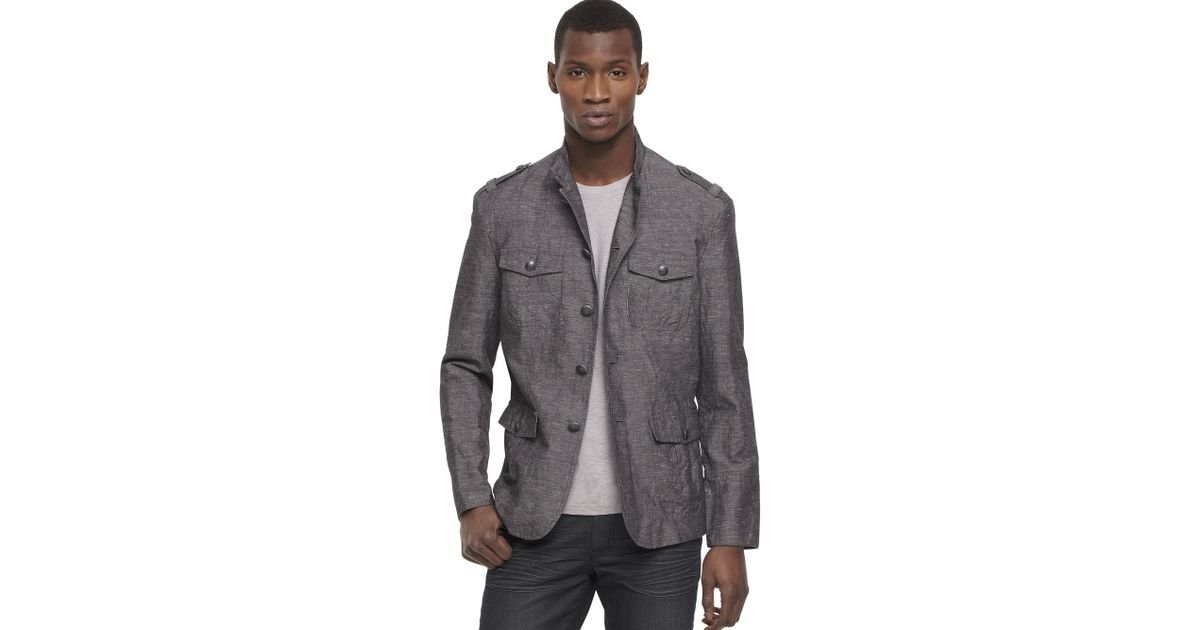 Kenneth cole reaction Mock Neck Military Blazer in Gray for Men | Lyst