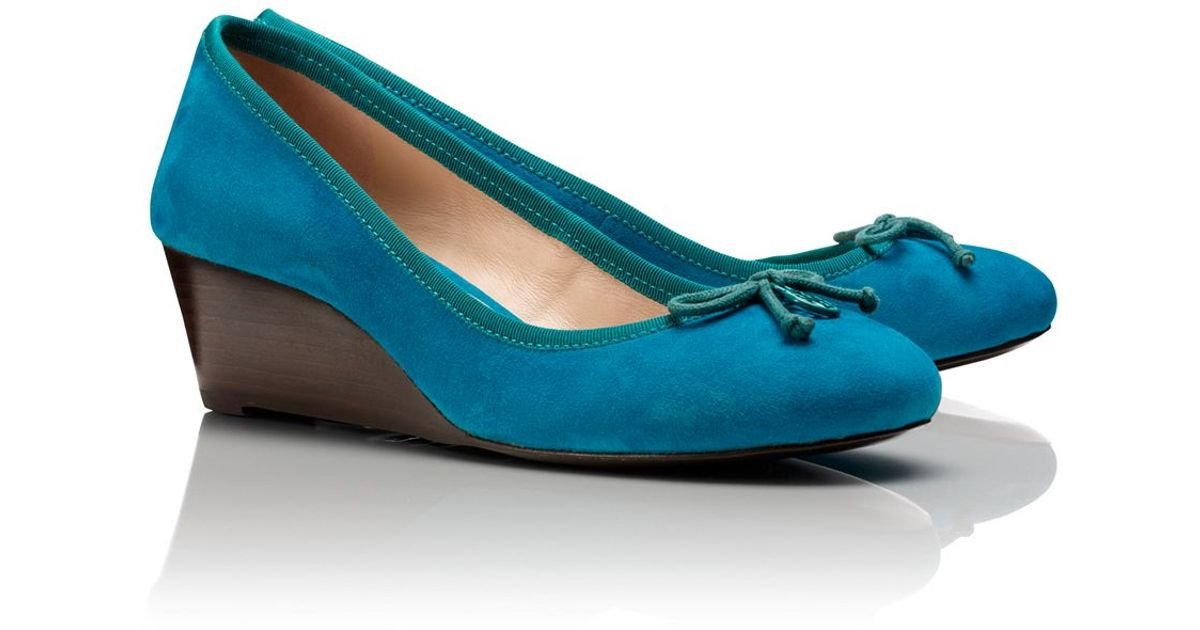 b002fa2a25d lyst – tory burch suede chelsea wedge in blue. Download Image 1200 X 630