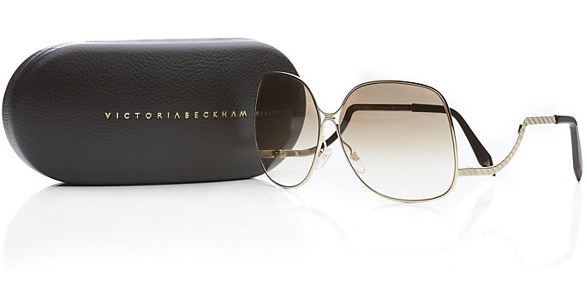 a9507289d6e Victoria Beckham Metal Drop Temple Sunglasses in Brown - Lyst