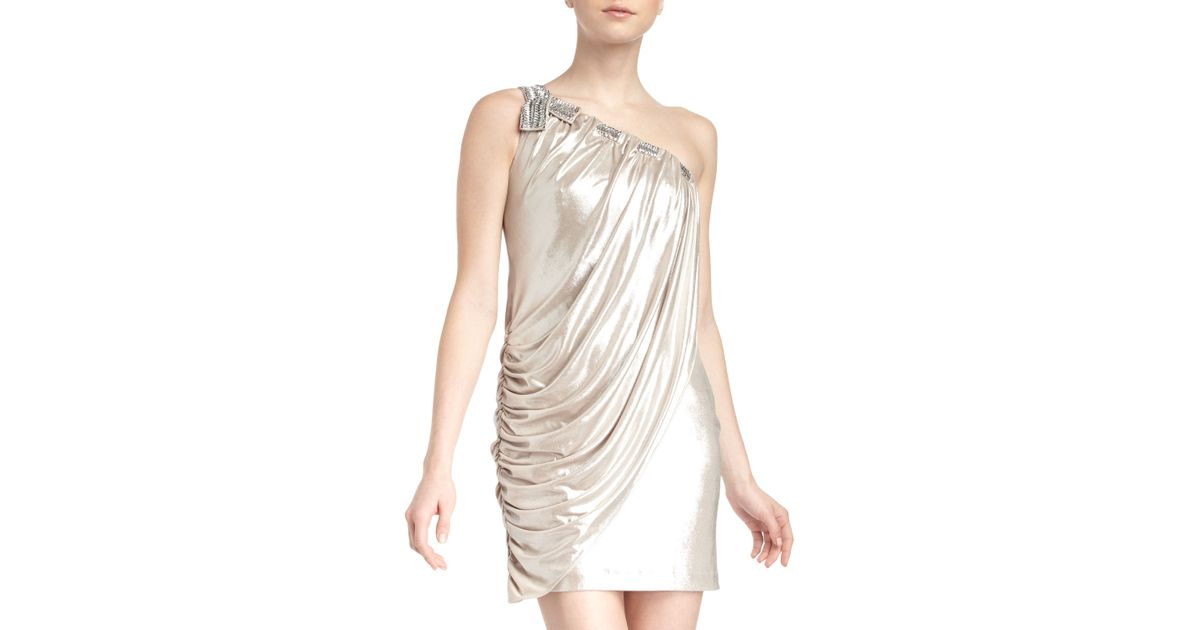9ca06d00f9b Lyst - Laundry by Shelli Segal One Shoulder Embellished Shimmer Jersey Dress  in Metallic