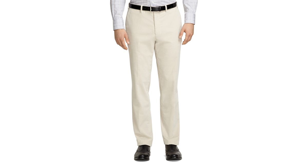 choose best colours and striking forefront of the times Brooks Brothers Natural Plain-front Cream Corduroy Trousers for men
