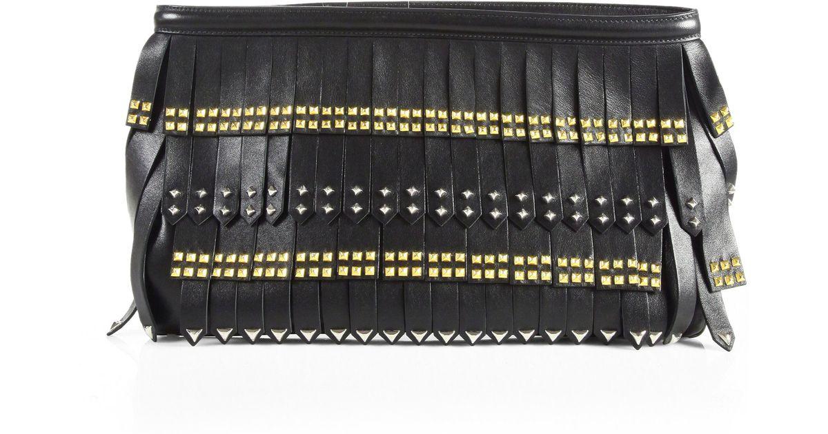 cf8692aaf97a Prada Nappa Gold Studded Fringe Clutch in Black - Lyst
