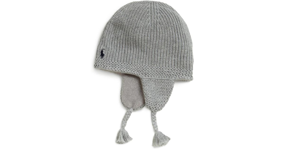 8601b575342 Lyst - Ralph Lauren Toddler Boys Knit Earflap Hat in Gray for Men