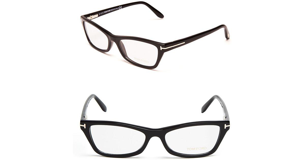 f877e6126ee Tom Ford Rectangular Cat Eye Optical Frames in Black - Lyst