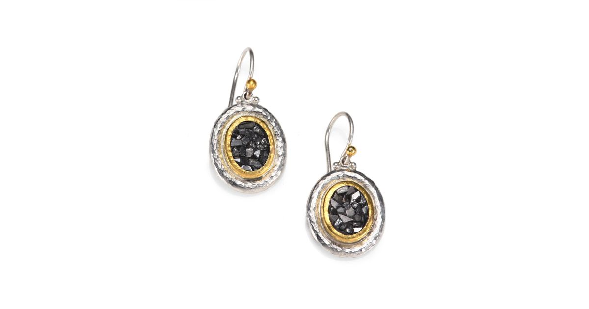 Lyst Gurhan Diamond Chip Sterling Silver And 24k Yellow Gold Earrings In Metallic