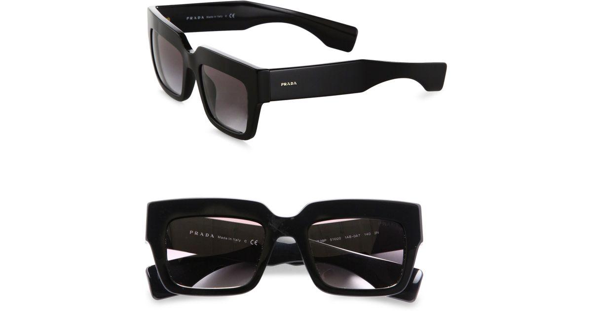 3c74c02963 Prada Thick Square Sunglasses in Black - Lyst
