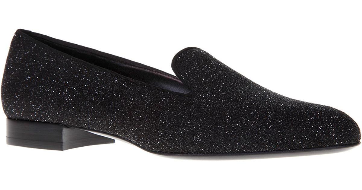 d5f6ef06c767 Lyst - Saint Laurent Glitter Loafer in Black