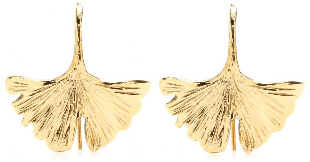 Lyst Aurelie Bidermann Tangerine Goldplated Ginkgo Leaf Earrings In Metallic