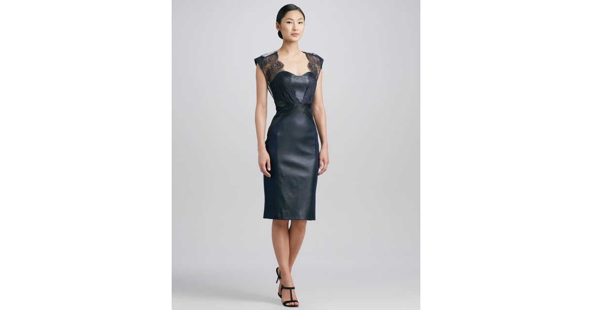 df6ea64cb53 Catherine Deane Embroidered Lace Leather Cocktail Dress in Blue - Lyst