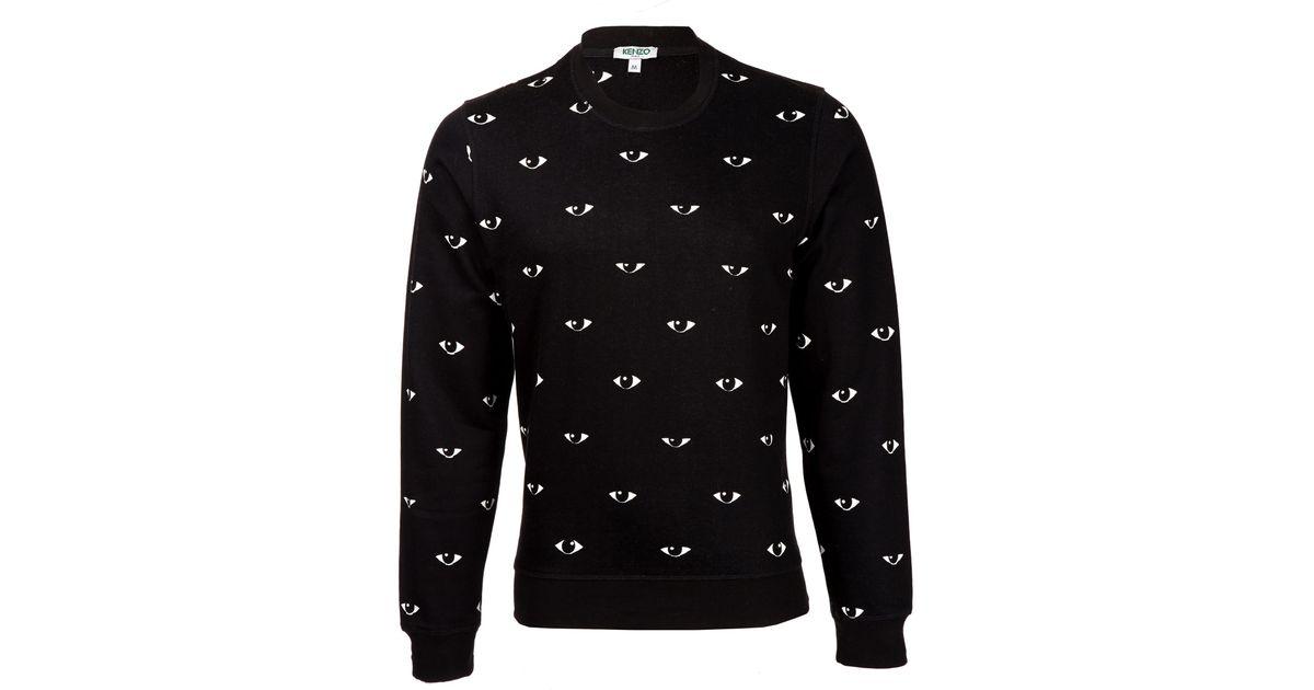 edbd0024fdd4 KENZO Black Allover Mini Eye Print Sweatshirt in Black - Lyst