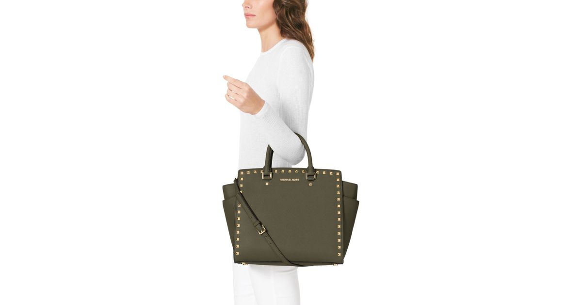 c822235448 Lyst - MICHAEL Michael Kors Large Selma Studded Saffiano Tote in Green