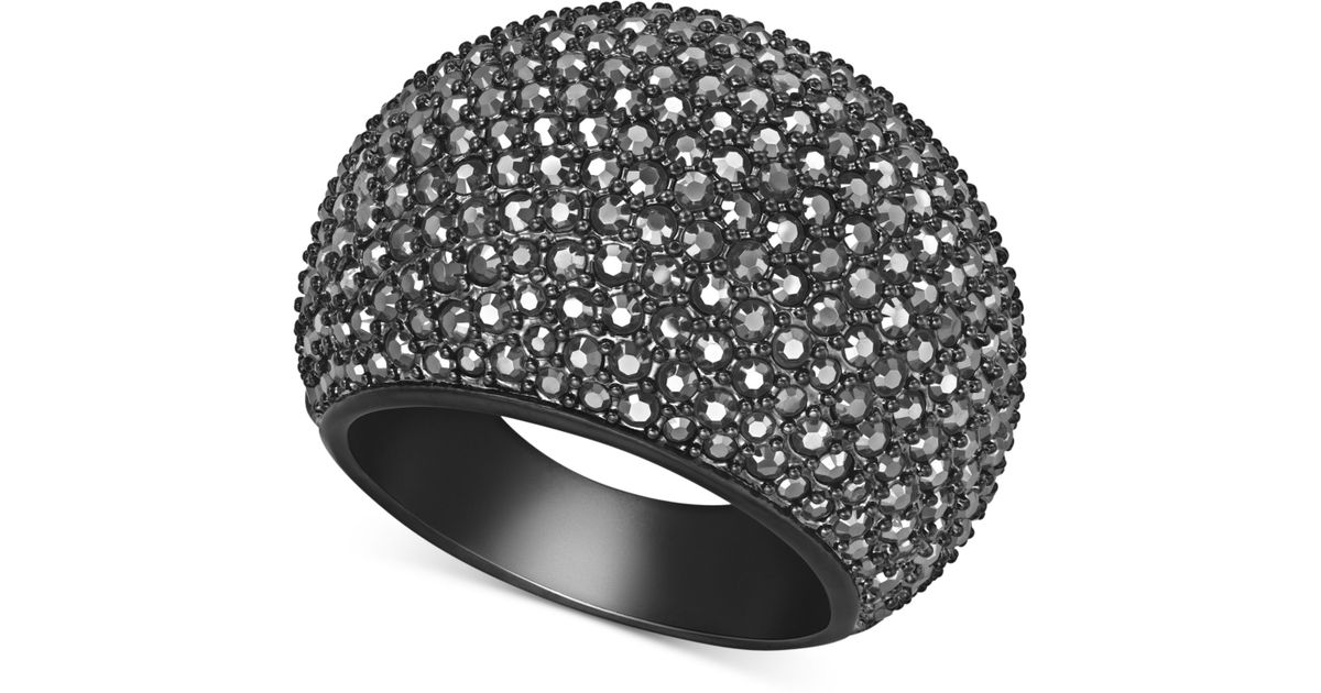 Lyst - Swarovski Black Pvd Jet Hematite Crystal Dome Ring in Black 1554a164cf13
