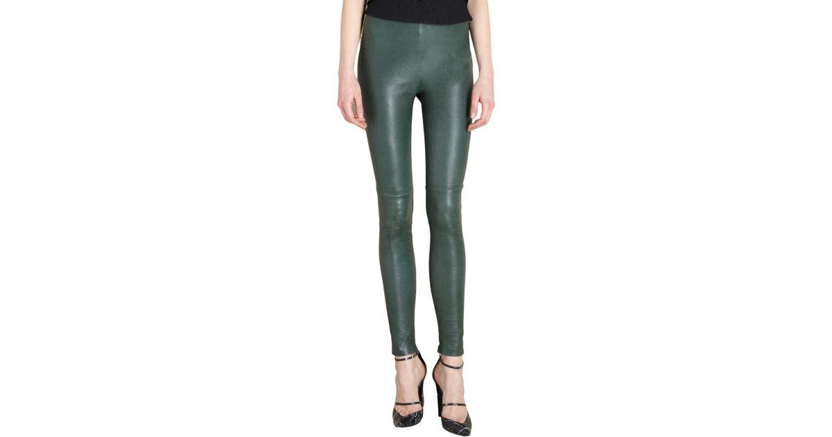 93d1b30577ad52 Balenciaga Leather Leggings in Green - Lyst