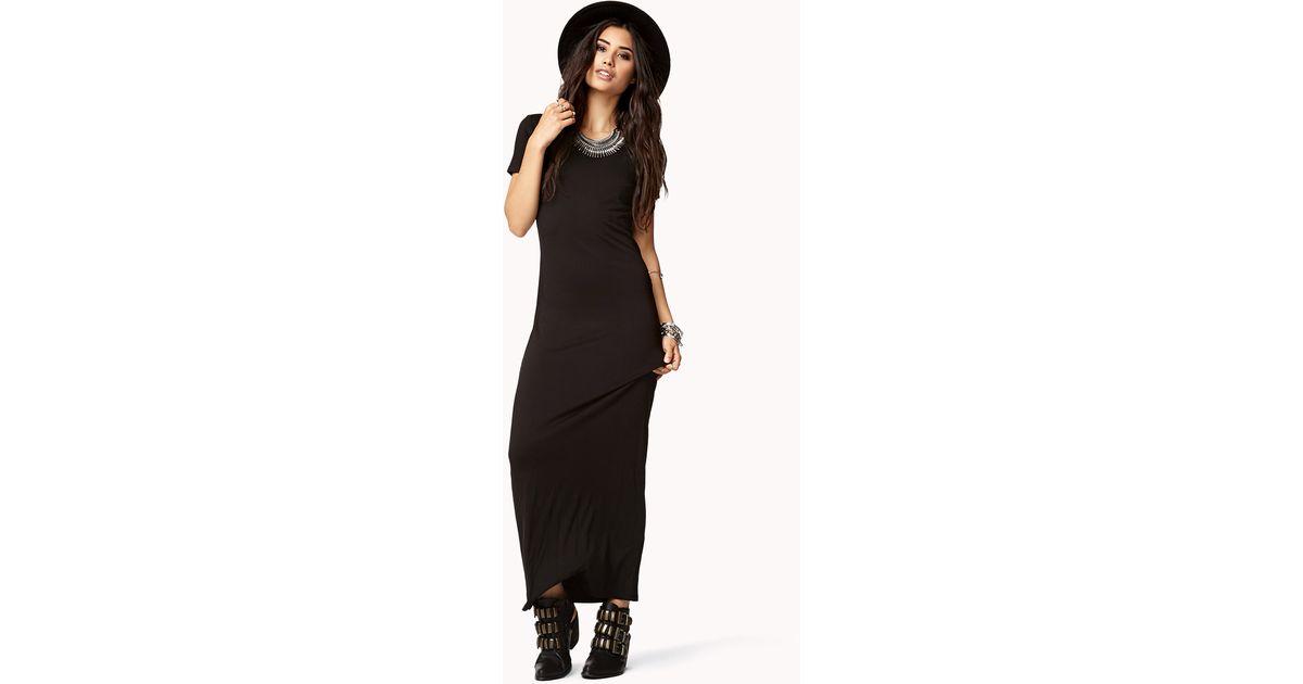 b710ddf8949b Lyst - Forever 21 Short Sleeve Maxi Dress in Black