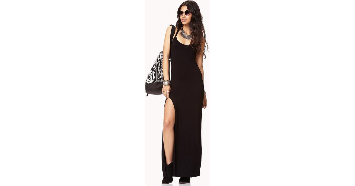 f159da18a22 Forever 21 Sleek Slit Maxi Dress in Black - Lyst