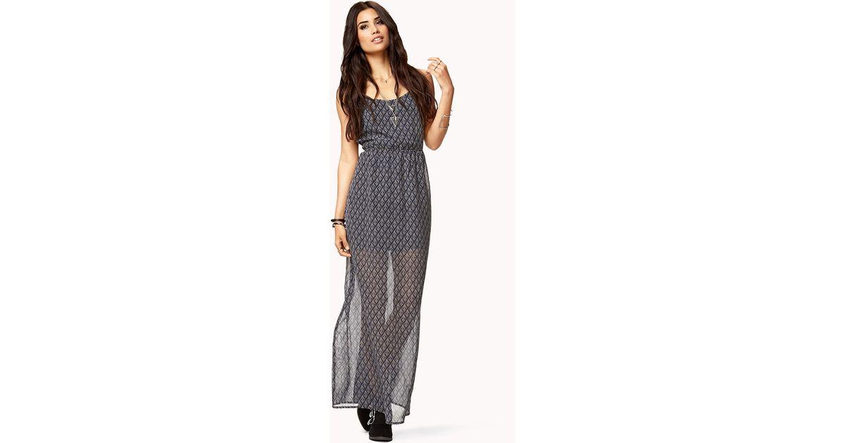 16258685538 Lyst - Forever 21 Batik Print Maxi Dress in Gray